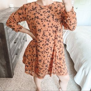 Urban Outfitters Orange Floral Long Sleeve Dress